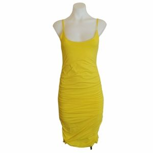 Kookai Size 1 Yellow Ruched Bodycon Dress Cocktail